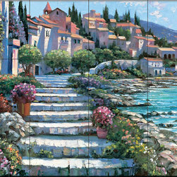 The Tile Mural Store (USA) - Tile Mural - Hb - Steps Of St. Tropez - Kitchen Backsplash Ideas - This beautiful artwork by Howard Behrens has been digitally reproduced for tiles and depicts stairs leading past a waterfront scene.  Waterview tile murals are great as part of your kitchen backsplash tile project or your tub and shower surround bathroom tile project. Water view images on tiles such as tiles with beach scenes and Mediterranean scenes on tiles Tuscan tile scenes add a unique element to your tiling project and are a great kitchen backsplash idea. Use one or two of our landscape tile murals for a wall tile project in any room in your home for your wall tile project.