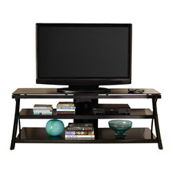 Steve Silver Furniture - Steve Silver Cyndi TV Console in Black - TV Console in Black belongs to Cyndi Collection by Steve Silver The unique lines of the Cyndi TV stand will make it a focal point in your room.  The Cyndi TV stand is the perfect addition to your modern or contemporary space.  The console features three smoked glass shelves and the black metal legs gently swoop outwards for added detail. A cord management port keeps unsightly wires organized and out of sight.  TV Console (1)