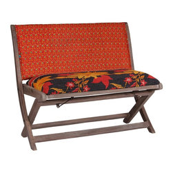 Modelli Creations - One Of A Kind Kantha Bench In Red And Black - This bench is made of shesham wood and folds for easy stow away. Upholstered with beautiful kantha fabric this bench will add interest and color to any space