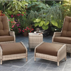 Bromley All-Weather Wicker Chat Set - It's easy to bring a little bit of paradise home with the Bromley All-Weather Wicker Chat Set. With durable, rust-resistant aluminum frames, this five-piece set features two high-back lounge chairs, two ottomans and an end table to hold your drinks. Each piece is wrapped in weather-resistant resin wicker that won't fade, chip, crack, or peel in the rain, wind, snow, or sun