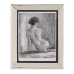 Bassett Mirror - Bassett Mirror Framed Under Glass Art, Figure in Black and White I - Figure in Black and White I