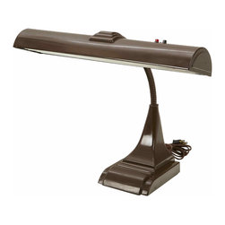 Brown Desk Lamp - 1950's brown desk lamp marked Art Specialty Co Chicago.  The lamp works and has an adjustable neck.