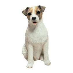 Sandicast - Mid Size Brown and White Jack Russell Terrier Figurine - Mid Size Brown and White Jack Russell Terrier Figurine. Made of Marble Dust and Poly Resin. Exceptionally sculpted. Incredible realism. Perfect for pet lovers. Hand-cast and hand-painted animal replica. 4 in. L x 2 in. W x 5 in. H (0.6 lbs)