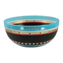 """Golden Hill Studio - Mosaic Chalk 11"""" Bowl - Celebrity Bowl. OK, the artist who hand-painted the unique and beautiful designs on this bowl may not be famous. But on the other hand, every time you bring it to the table, your ratings as an entertainer will skyrocket."""