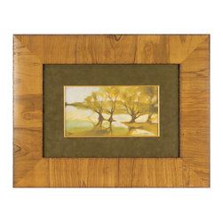 """Roma - Morning Day II - Waking up under fresh sunlight, a group of trees welcomes a breaking dawn in this compelling landscape print. Juxtaposed with a classic frame, Morning Day II elicits captivation whether hung over a modern mantle or accessorized with a rustic bed. 27""""W x 20.5""""H; Frame features a hand-applied wood veneer finish in natural; Tones of browns, yellows and neutrals; All mouldings manufactured in Italy using only woods from active reforestation programs. This piece is delivered in recycled or environmentally friendly packaging materials whenever possible."""