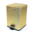 Gedy - Square Gold Faux Leather Waste Bin With Pedal - Stylish, decorative square step waste basket. Waste container and lid are made out of stainless steel with a faux leather cover in gold finish. Trash bin pedal is made out of stainless steel with a polished chrome finish. Made in Italy by Gedy. From Gedy
