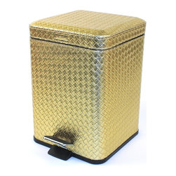 Gedy - Square Faux Leather Waste Bin With Pedal, Gold - Stylish, decorative square step waste basket.