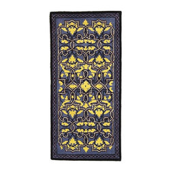 Achla - Persian Style Fireplace Rug w Blue & Yellow S - Rich colors of blue and yellow unite in balanced harmony on the surface of this beautiful rug, outlined by bold designs in black and white.  Its broad dimensions make it ideal for placing in front of the hearth, inviting anyone to enjoy the warm fire. * Woven from the highest quality 100% New Zealand Virgin woolRichly dyed to custom colorsDensely woven to 188,000 knots/ sq. meter.All rugs meet federal requirements of Part 1631 (FF2-70) for surface flammability of small carpets56 in. W x 26 in. L
