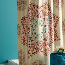 Shower Curtain HQ - Soak in the richness of a pleasantly oversized medallion shower curtain encircled by intricate medallion accents in a vivid palette of Gulf Blue, Merlot, Coral, and Golden Amber over Khaki ground. Combining modern hues with traditional motifs and touches of metallic bronze embroidery, Chanda is the main attraction for the bath.