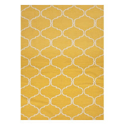 Jaipur Rugs - Jaipur Rugs Flat-Weave Moroccan Pattern Wool Yellow/Ivory Area Rug, 2 x 3ft - An array of simple flat weave designs in 100% wool - from simple modern geometrics to stripes and Ikats. Colors look modern and fresh and very contemporary.