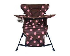 Kelsyus Go with Me Chair - Your child can feel like one of the grown-ups with the Kelsyus Go with Me Chair. This durable polyester chair has a strong steel frame that can support up to 75 pounds with ease. Coming in a rich brown with lively pink spots, this chair includes a drink holder and even a tray for snacks. The five-point harness holds them in place while the removable sun bonnet protects them from the sun.About Swimways Based in Virginia Beach, Virginia, Swimways has one mission: make free time more fun through innovation. They provide your family with pool toys, floats, decorations, games, and even swim training gear to make sure you have no ordinary day at the pool. With over 35,000 storefronts and offices in Hong Kong and the United States, Swimways' diverse staff is dedicated to bringing you the best. Safety is their priority, helping to teach kids to swim for over 40 years with an innovative line of swim-training products. Swimways is here to help and stands by their products every step of the way.