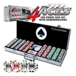 Trademark Global - 4-Aces 500 Pc Poker Chip Set w Aluminum Case - Comes with 2 decks of cards, dealer button, big blind button and little blind button. Black felt lining. Lightweight aluminum case with security locks. Casino chips are 11.5 grams in weight. 150 pcs. of $1 chips. 200 pcs. of $5 chips. 100 pcs. of $25 chips. 50 pcs. of $100 chips. 2.25 in. L x 22.25 in. W x 9.5 in. H (12.5 lbs.)All chips have a colorful image of a 4-of-a-kind poker hand in aces surrounding the denomination. Each denomination is a slightly different label color, matching the color of the chips' stripes. The best part about these chips is that they already have the denominations on them. There are four different denominations in this chip series, including $1, $5, $25 and $100. Play your No Limit Hold'em games and all your other high stakes casino games with these chips! Or play low stakes games too. These chips are very flexible for any game. The detail on these chips is flawless and their unique design makes them great for casinos and home-style play alike.