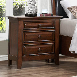 Homelegance - Homelegance Sunderland 3 Drawer Nightstand in Medium Cherry - Classic transitional styling lends itself to the Sunderland Collection, making it the perfect addition to your home. Your eye is initially drawn to the black bi-cast vinyl wood framed headboard. Then your attention is drawn to the fully functioning storage footboard that allows for additional space when you need it most. Each case piece is accented with wooden pull hardware featuring metal centers. A medium cherry finish rounds out this transitional collection. - 2157-4.  Product features: Classic transitional styling; Accented with wooden pull hardware featuring metal centers; 3 Drawers; Medium Cherry finish. Product includes: Nightstand (1). 3 Drawer Nightstand in Medium Cherry belongs to Sunderland Collection by Homelegance.