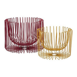"IMAX - Taranto Wire Baskets, Set of 2 - The Taranto set ofeetwo wire baskets have a modern style! In richeered and vibrant yellow metal forms, these bowls are a great use of positive and negative space which is not confined to the traditional basket shape. Item Dimensions: (10.25-12.5""h x 13-18""w x 13-18"")"