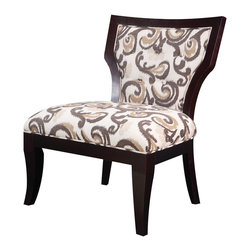 Madison Park - Madison Park Montego Hourglass Exposed Wood Armless Chair - Bring life to any room in your home with this hourglass armless chair that features a soft velvet upholstery and contrast merlot hard wood frame. Some assembly required. Wood Finish: Merlot Material: Hand Carved Birch Hardwood Frame Fabrication: 100% Polyester Filling: High Density Foam Additional Features: Button Tuft Back Detailing