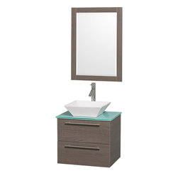 Wyndham - Amare 24in. Wall Vanity Set in Grey Oak w/ Green Glass Top & White Porcelain S - Modern clean lines and a truly elegant design aesthetic meet affordability in the Wyndham Collection Amare Vanity. Available with green glass or pure white man-made stone counters, and featuring soft close door hinges and drawer glides, you'll never hear a noisy door again! Meticulously finished with brushed Chrome hardware, the attention to detail on this elegant contemporary vanity is unrivalled.