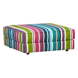Botao Stripe Sectional Ottoman - This fun and whimsical piece is sure to brighten up any room with its bold colors and lovely stripes.