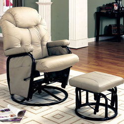 Coaster - 7292 Glider With Ottoman - Bone - Bone leatherette like reclining glider rocker with ottoman.