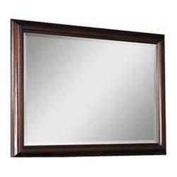 A.R.T. Furniture - A.R.T. Furniture Intrigue 51 x 39 Landscape Mirror - With a distinctive reverse shadow box profile this generously sized mirror features a thick frame with deep coved molding and beveled glass. It works equally as well in a landscape or portrait orientation. Intrigue is defined by its sophisticated transformation of traditional design elements into a soft transitional collection highlighted by bronzed metal textured linen supple leather and sleek stone. Sweeping shapes dramatic veneers exquisite details like maple inlay and hand-applied nail head trim and a signature marquise (pointed oval) shaped motif communicate fresh attitude and create an up-to-the minute appeal.Crisp uncluttered lines combine with traditional touches to reveal a look with order function and versatility for today. A.R.T. Furniture proves their commitment to quality with every piece of furniture they offer. Extra steps are taken throughout the manufacturing process to ensure quality beauty and durability. Using a UV finishing process on A.R.T. Furniture drawer interiors provides the smoothest and most durable finish available from any manufactures. This ensures snag-free storage for even the most delicate hosiery and lingerie. Sophisticated wire management and ventilation solutions are engineered into every A.R.T. piece with media function to aid in ease of set up and to ensure the longest possible life for electronic components. Aromatic red cedar lining in bottom drawers of bedroom storage pieces. Jewelry trays and silverware liners in key bedroom and dining pieces provide for the safe keeping of valuables. English dovetailing has been the standard of quality and fine craftsmanship in drawer construction for over three centuries. All A.R.T. collections feature English dovetailing throughout unless prohibited due to the curve of the drawer. Dust proofing is used on all cases with wood on wood guides to prevent dust and debris from soiling clothes and linens. Drawer Guides Collections developed before 2012 feature wood on wood guides which have been the standard of quality for generations of furniture craftsmen. Modern consumers demand the ease of use and convenience of full-extension drawer guides. In 2012 A.R.T. transitioned to full extension guides to meet this demand. All A.R.T. Furniture collections from 2012 forward offer this feature. Features include 1 Inch Beveled Glass A Distinctive Reverse Shadow Box Profile A Thick Frame with Deep Coved Molding Landscape or Portrait Orientation Fine Solids and Veneers. Specifications Finish: Hickory Veneers Cola.