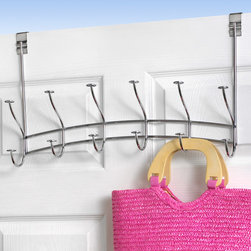 """Hooks & Racks - Add extra closet space to your bathroom, bedroom or any door in your home with the Windsor Over the Door 6-Hook Rack. The stylish rack helps you take advantage of unused space behind doors. With six hat and coat-style hooks, this rack provides you with 12 spots for hanging jackets, towels, hats, bags and more. Made of sturdy steel, the flexible steel bracket is designed to fit doors from 1-3/8"""" to 2-1/4"""" thick."""