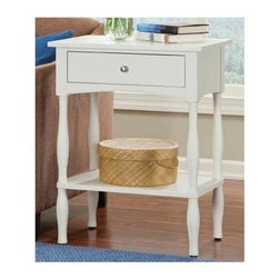 Alaterre Furniture - Shaker Cottage End Table - 1 Drawer . 1 Shelf. Made of composite wood. Assembly required. 1-Year warranty. 24 in. W x 16 in. D x 30 in. H Practical Cottage Style End table with 1 Drawer and lower shelf. Easy to assemble. A nice accent in a Lifestyle setting.