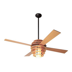 "Modern Fan - 42"" Modern Fan Stella Maple-Bronze Ceiling Fan with Light - Add new style and a cooling breeze with this eye-catching 42"" Stella ceiling fan from Modern Fan Company. It features a distinctive beehive motor housing in maple with four matching blades and a dark bronze downrod and canopy. A handsome white glass light sits within the tiered beehive housing. (UM)  Maple motor housing finish.  Maple finish blades.  Dark bronze downrods and canopy.  White glass light kit included.  Includes one 75 watt G9 halogen bulb.  Limited lifetime motor warranty.  Includes 3-speed wall control and hand-held remote system.  Fan height is 18"" ceiling to bottom of light kit (with 4"" downrod).  Includes 4"" and 14"" downrods.  Canopy is 5 1/4"" wide.  42"" blade span."