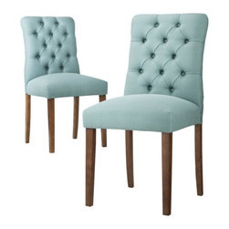 Threshold Brookline Tufted Dining Chairs, Blue, Set of 2 - Add a striking touch to your dining room table with these beautiful chairs. Not only is the color gorgeous, but they look comfortable as well.