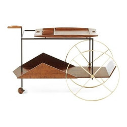 JZ Bar Cart by Jorge Zalszupin - Whether you're having some very chic friends over for tea or martinis, you'll stun them with this mid-century modern cart. It's got plenty of room for bottles on the bottom and garnishes on top. Bottom's Up!