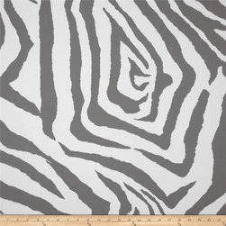 Premier Prints Indoor/Outdoor Zebra Gray Fabric - Bring your animal print outside with this fun and funky zebra print in a hip gray.