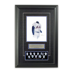 "Heritage Sports Art - Original art of the MLB 1962 New York Mets uniform - This beautifully framed piece features an original piece of watercolor artwork glass-framed in an attractive two inch wide black resin frame with a double mat. The outer dimensions of the framed piece are approximately 17"" wide x 24.5"" high, although the exact size will vary according to the size of the original piece of art. At the core of the framed piece is the actual piece of original artwork as painted by the artist on textured 100% rag, water-marked watercolor paper. In many cases the original artwork has handwritten notes in pencil from the artist. Simply put, this is beautiful, one-of-a-kind artwork. The outer mat is a rich textured black acid-free mat with a decorative inset white v-groove, while the inner mat is a complimentary colored acid-free mat reflecting one of the team's primary colors. The image of this framed piece shows the mat color that we use (Medium Blue). Beneath the artwork is a silver plate with black text describing the original artwork. The text for this piece will read: This original, one-of-a-kind watercolor painting of the 1962 New York Mets uniform is the original artwork that was used in the creation of this New York Mets uniform evolution print and tens of thousands of other New York Mets products that have been sold across North America. This original piece of art was painted by artist Nola McConnan for Maple Leaf Productions Ltd. Beneath the silver plate is a 3"" x 9"" reproduction of a well known, best-selling print that celebrates the history of the team. The print beautifully illustrates the chronological evolution of the team's uniform and shows you how the original art was used in the creation of this print. If you look closely, you will see that the print features the actual artwork being offered for sale. The piece is framed with an extremely high quality framing glass. We have used this glass style for many years with excellent results. We package every piece very carefully in a double layer of bubble wrap and a rigid double-wall cardboard package to avoid breakage at any point during the shipping process, but if damage does occur, we will gladly repair, replace or refund. Please note that all of our products come with a 90 day 100% satisfaction guarantee. Each framed piece also comes with a two page letter signed by Scott Sillcox describing the history behind the art. If there was an extra-special story about your piece of art, that story will be included in the letter. When you receive your framed piece, you should find the letter lightly attached to the front of the framed piece. If you have any questions, at any time, about the actual artwork or about any of the artist's handwritten notes on the artwork, I would love to tell you about them. After placing your order, please click the ""Contact Seller"" button to message me and I will tell you everything I can about your original piece of art. The artists and I spent well over ten years of our lives creating these pieces of original artwork, and in many cases there are stories I can tell you about your actual piece of artwork that might add an extra element of interest in your one-of-a-kind purchase."