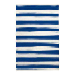 Fab Habitat - Lucky Indoor Cotton Rug, Turkish Sea & Bright White, 4x6 - Just blue it! This bold, jaunty rug has a slightly nautical vibe. Hand-woven from 100 percent recycled cotton, it'll add buoyant flair to any casual corner of your home.
