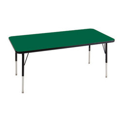 "Ecr4kids - Ecr4Kids Adjustable Activity Table Rectangular 30"" X 72"" Elr-14112-Ggn-Tb Green - Table tops feature stain-resistant and easy to clean laminate on both sides. Adjustable legs available in 3 different size ranges: Standard (19""-30""), Toddler (15""-23""), Chunky (15""-24""). Specify edge banding and leg color. Specify leg type."