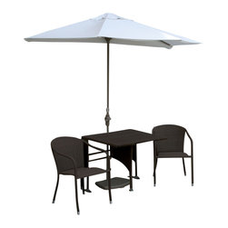 Blue Star Group - 5-Piece DANIELLA All-Weather Wicker Set w/ OFF-THE-WALL BRELLA - 36 In. DANIELLA Set Half-Square Table / Stacking Chairs / Java Finish