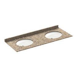 LessCare - 61x22 Wheat Granite Vanity Countertops - 8 Faucet Spread - *Condition: New