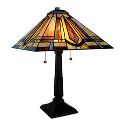 "18.5"" H Stained Glass Mission Style Table Lamp - Celebrate classic design with the Mission Style Table Lamp. This lamp is crafted with hand-cut pieces of stained glass, each wrapped in copper foil and then hand-soldered in place to create a stunning effect. Warm tones of amber and blue come together and create a diffused glow for any relaxed space."
