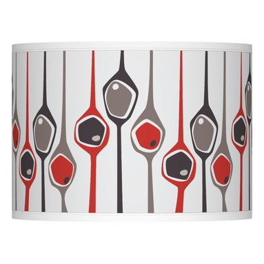 Ragnar - Shutter Giclee Lamp Shade 13.5x13.5x10 (Spider) - A sleek and streamlined drum-shaped lamp shade with a custom-printed Shutter pattern designed by Ragnar. Set a modern mood with this giclee printed lamp shade. The pattern is designed by retro modern pop artist and illustrator Ragnar, and is custom-printed and made to order. The lively pattern is sure to add a pop of style to any room. It has a spider fitting and includes the correct sized harp is included free with this shade. U.S. Patent # 7,347,593.