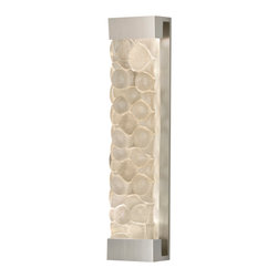 Fine Art Lamps - Crystal Bakehouse River Stone Sconce, 811150-24ST - Sleek and sexy, this indoor/outdoor wall sconce sports a hand-crafted crystal face that echoes the form and texture of natural river stones. Note the way the glass refracts the light, offering an organic, faceted counterpoint to the coolly minimalist base.