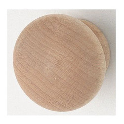 Hafele - Unfinished Round Knob (Set of 10) - 8/32 mounting thread. Warranty: One year. Made from maple wood. Made in Taiwan. 1.54 in. W x 1.14 in. H