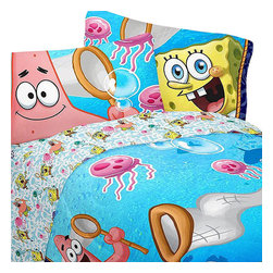 Franco Manufacturing Company Inc - Spongebob Squarepants Jellyfishing Hunt Full Bed Sheet Set - Features: