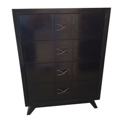 "Pre-owned Paul Frankl Highboy Dresser - Handsome, late 1940's Mid-Mod Paul Frankl 4-drawer highboy in original ebonized wood finish with signature brass ""x"" hardware. A substantial, beautifully-crafted and durable mid-century antique."