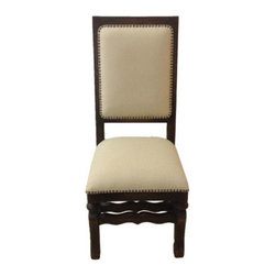 Koenig Collection - Straight Top Side Chair, Dark Stain And Upholstered In Linen - Straight Top Side Chair, Dark Stain and Upholstered in Linen