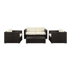 Modway - Modway EEI-976 Concert 4 Piece Sofa Set in Espresso White - Create a tranquil background for artful conversations. Concert's arrangement of pieces reach their crescendo with the flick of the conductor's wrist to produce a much desired scene. From the hum of opening chatter, to the climax of memorable bouts of laughter, join together and celebrate the melodious music of friendship. Concert is comprised of UV resistant rattan, a powder-coated aluminum frame and all-weather cushions. The set is perfect for cafes, restaurants, patios, pool areas, hotels, resorts and other outdoor spaces.