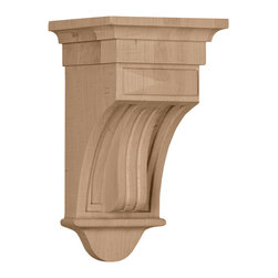 "Ekena Millwork - 5 1/2""W x 5 1/2""D x 10""H Raised Fluting Corbel, Alder - 5 1/2""W x 5 1/2""D x 10""H Raised Fluting Corbel, Alder. Enjoy the warmth and beauty of carved wood corbels. With the proper installation, these wood brackets can support up to 250lbs, which gives you the flexibility to use a decorative bracket for support. Available in a variety of species, these brackets ship to you fully sanded and ready for your paint or stain."
