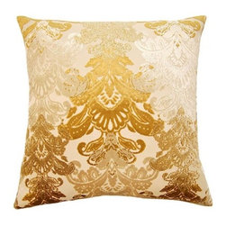 Squarefeathers - York, Floral Pillow - Give yourself a royal welcome when you come home to the York pillow collection. An elegant collection that shines in the light. Made of polyethylene and viscose with a knife edge trim. It has a soft and pump feataher/down insert inclosed with a zipper. Like all of our products, this pillow is handmade, made to order exclusively in our studio right here in the USA.