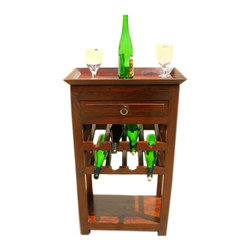 Solid Wood Liquor Bottle Storage Wine Rack Serving Tray - Wonderful Solid Indian Rosewood Wine Rack This Wine Rack has a beautiful and unique design.