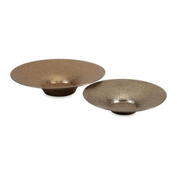 iMax - Dominic Metallic Chargers, Set of 2 - This set of two ceramic chargers in a small and large size feature a bronze toned metallic finish and make a great accent for table tops or displayed on an easel.