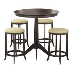 Hillsdale Furniture - Hillsdale Tiburon 5-Piece Pub Table Set - Four attractive backless stools compliment this transitionally designed pub table. The extremely popular and versatile espresso finish is complimented by the beige microsuede seat fabric. This group is a comfortable and handsome addition to your eat-in kitchen, breakfast nook or game room