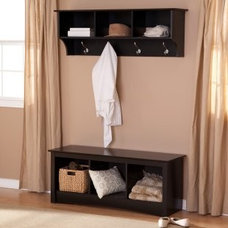 Prepac Sonoma Black Triple Cubby Bench & Coat Rack Set - Indoor Benches at Bench