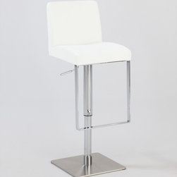 Chintaly Imports - Pneumatic Gas Lift Swivel Stool in Brushed Stainless Steel - This is a very beautiful brushed stainless steel adjustable height swivel stool with PVC upholstery and pneumatic gas lift. Additional features are adjusting the seat height from the from 21 up seat height of 29. This stool is also available in Black.