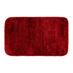 None - Plush Deluxe Cinnabar Red Washable 30 x 50 Bath Rug - Relish the luxurious softness of the Plush Deluxe bathroom collection. This easy to clean nylon bath rug adds a note of tasteful color to the most relaxing space and also features the added safety of non-skid backing.